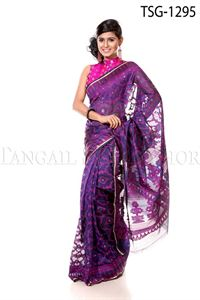Picture of Moslin Jamdani Saree - TSG - 1295