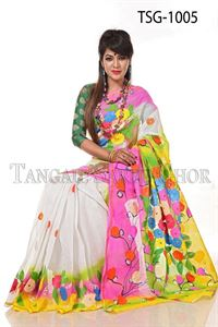 Picture of Hand Print Cotton Saree - TSG-1005