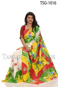 Picture of Half Silk Kuta Hand Print Saree - TSG-1016