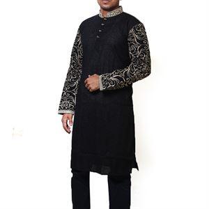 Picture of Cotton Semi  Long Black Panjabi for men mfz-1