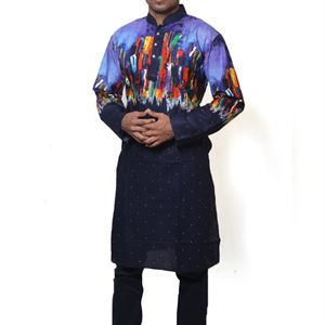 Picture of Cotton Semi  Long Black and Multi color Panjabi for men mfz-3