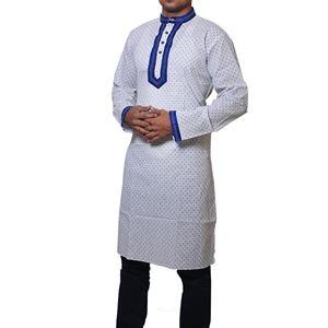 Picture of Cotton Semi  Long White Panjabi for men mfz-4