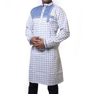 Picture of Cotton Semi  Long White Panjabi for men mfz-8