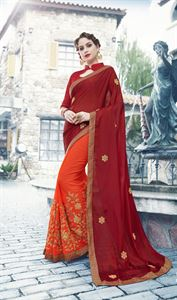 Picture of Georgette and embroidery work saree nsc-717