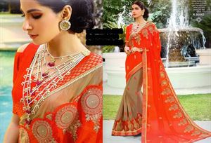 Picture of Georgette and embroidery work saree ssc-724