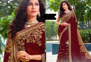 Picture of Georgette and embroidery work saree ssc-729