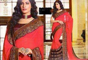 Picture of Georgette and embroidery work saree ssc-733